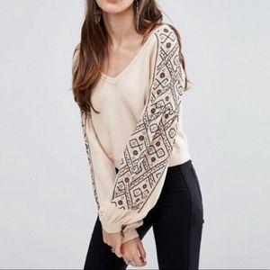 Free People   Embroidered Sweatshirt